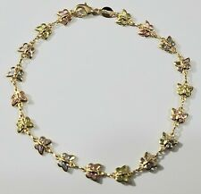 Gold Filled Multi-Color Stones # 30 Butterfly Ankle Bracelet 9 3/4 inches Long