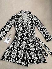 $428 Diane von Furstenberg DVF Celeste Silk Black &White Jersey Romper Size 0