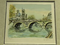 "Signed Serigraph by French Artist Le Blanc ""Le Port St.Michel et Notre Dame"""