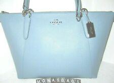 Coach Cornflower Blue F57526 Cross Grain Leather Ava Zip Top Tote Handbag NWT