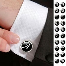1 LETTER CUFFLINK ONE Gunmetal Black Name Initial Wedding Birthday Men's Gift