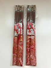 4 Pairs Wood CHOPSTICKS+RESTS+Gold Thread Embroidery Holder~Wedding GIFT SET~RED