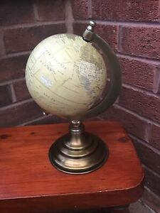 """SMALL DESKTOP WORLD GLOBE WITH METAL STAND WITH ANTIQUE GOLD FINISH 10"""" TALL"""