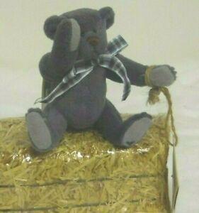 Dewberry 5in retired Ganz Cottage Collectibles grey Teddy Bear plaid bow  CB139