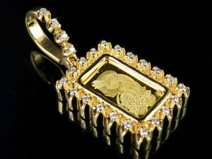 "24K Yellow Gold Lady Fortuna Bar 1 Row Real Diamond Charm Pendant 1.35"" 2/5CT"