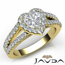 Heart Diamond Engagement GIA G VVS2 Halo Prong Set Ring 18k Yellow Gold 1.25Ct