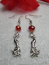 Phoenix Orecchini con cristallo rosso placcato argento fili mitologica fantasy gioielli