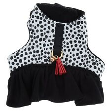 Adjustable cat harness with bell and flounced trim one size