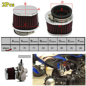 2Pcs Performance High Flow 45MM Motorcycle High Flow Air Filter Intake Cleaner