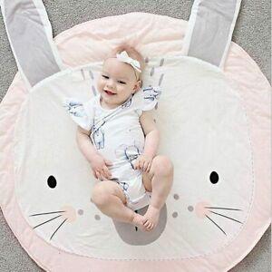 Round kindergarten carpet, pink rabbit children's non-slip play mat