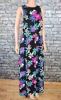 Women's Black Floral Print Sleeveless Long Designer Maxi Dress Size 10 - Eu 38
