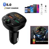 QC3.0 Wireless Bluetooth5.0 FM Transmitter Car USB Charger Adapter Radio Player