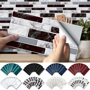 9-90 Pcs Tiles Wall Stickers Kits 3D Mosaic Self-adhesive Kitchen Bathroom Decal