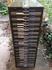 Lot 2 Vintage Kardex 16 Drawer Card Filing Cabinet Remington Rand Slim Stackable