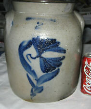 ANTIQUE PRIMITIVE COUNTRY USA BLUE COLBALT FLOWER ART STONEWARE CROCK BINGNAMTON