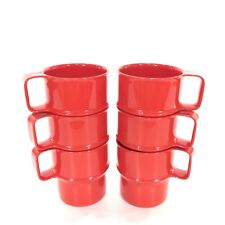 Lot 6 Rosti Mepal 314 Red Cup Mugs Handles VTG Picnic Dinerware Retro Modern