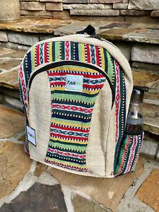 Himalayan Hemp Handmade Backpack|Multi-Color Hemp Bag|Rasta Boho Hippie Backpack