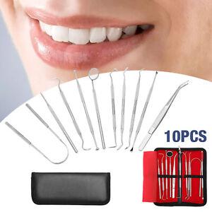 10er Dental Set Zahnreinigung Zahnsteinenterner Zahnsonde Zahnpflege Mundspiegel