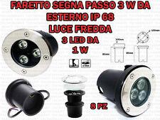 8 FARETTI INCASSO LED 3W ESTERNO/INTERNO SEGNA PASSO CALPESTABILE IP68 GIARDINO