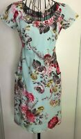 PRETTY JOULES 'MARCIE' FLORAL COTTON PENCIL DRESS WITH FRONT POCKETS UK 8 US 4