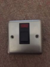 Volex Brushed Stainless 20A Switch. Curved. Black Insert. Red Neon Light. BNIB.
