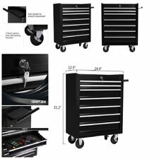 7 Rolling Casters Drawer Tool Lock Cabinet Storage Organizer BLACK Metal Chest
