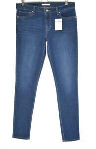 Womens Levis SKINNY 711 Dark Blue Mid Rise Stretch Jeans Size 14 W32 / W33 L32