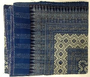 Indian Indigo Hand Block Ajrakh Bed Cover Handmade Queen Blue Kantha Quilt Throw