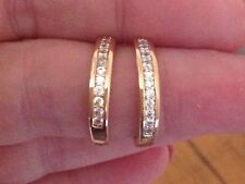 18K Yellow Gold Diamond Hoop Earrings              240a