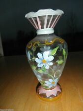 Vintage Old Hand Painted Vase Glass Blue Flower Art Retro Pink Yellow Green Leaf