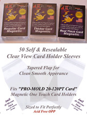 50 Perfect Fit PRO-MOLD Magnetic Card Holder Sleeves Fits 20 50 80 120 PT Cases