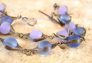 PICK COLOR sea glass GUNMETAL herringbone wire wrapped bracelet copper wire