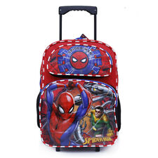 "Marvel Spiderman School Rolling Backpack 16"" Large Torlley Roller Luggage Bag"