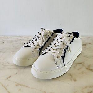 TORY SPORT Blue Rim Ruffled White Sneakers - US 10