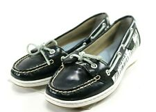 Sperry Top Sider Angelfish $90 Women's Zebra Boat Shoes Size 8 Black White