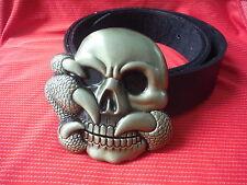 Big Cráneo y garra Biker SKELTON Heavy Metal Oro hebilla y cinturón de cuero