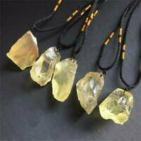 Natural Citrine Raw Rough Crystal Mineral Specimen Rock Stone Pendant Necklace