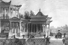 China, TEMPLE TONGZHOU BALCONY COURTYARD ~ 1842 Architecture Art Print Engraving