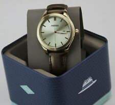 NEW AUTHENTIC FOSSIL TYPOGRAPHER GOLD LEATHER WOMEN'S BQ3314 WATCH