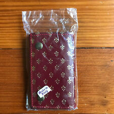 Vintage Italian Red Leather Key Case Gold Fleur De Lis Italy New Old Stock
