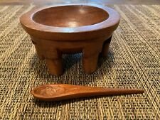 Wood Kava Bowl 6 Legs Pacific Islands Ceremonial Drink Bowl Hand Carved W Spoon