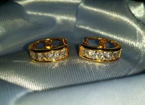 Gold Sapphire Princess Cut Hoop Earrings -15mm x 4mm RETAIL $399