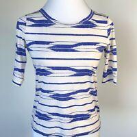 J Crew Womens T Shirt Top Blue White Size XXS Short Sleeve