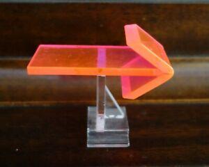 Vintage Mid Century 1950's Retro Neon Orange Pink Fiber Optic Right Arrow Symbol