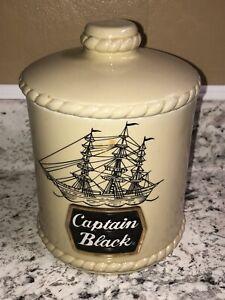 Vintage Captain Black Pipe Tobacco Jar Humidor Special Edition 12 Oz. Ceramarte