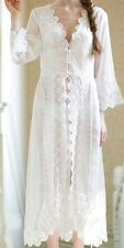 Embroidered Floral Lace Chiffon White Long Sleepwear Lingerie Night Dress