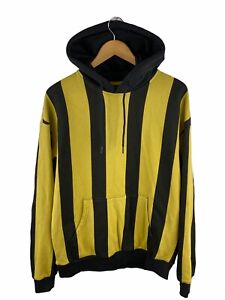 Cotton On Men's Hoodie Jumper Size M Yellow Striped Loose Fit Pullover Pocket