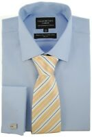 COLLAR AND CUFFS LONDON - SHIRT & TIE SET - NON-IRON 100% Cotton - Slim Fit Blue