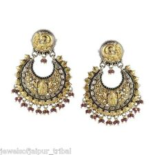 Two Tone Gold Plated Silver Beads Religious Peacock Design Drop Earrings Jewelry