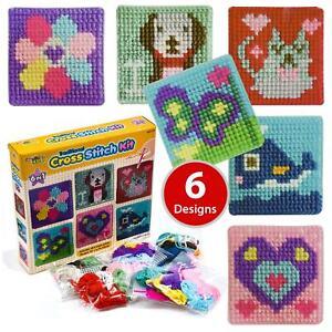Craft Set Cross Stitch Kit Kids 6 Traditional Children Kids Toy Tapestry Sewing